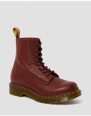 Dr.Martens 1460 WOMEN'S PASCAL VIRGINIA LEATHER BOOTS - CHERRY RED VIRGINIA - Sale