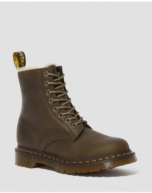 Dr.Martens 1460 WOMEN'S FAUX FUR LINED LACE UP BOOTS - DMS OLIVE BURNISHED WYOMING - Sale
