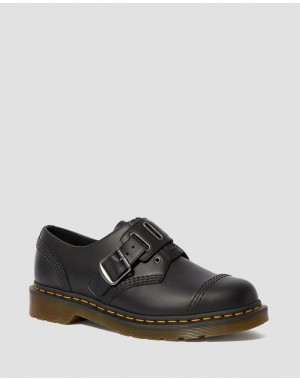 Dr.Martens 1461 QUYNN SMOOTH LEATHER BUCKLE SHOES - BLACK SMOOTH - Sale