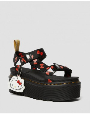 Dr.Martens VEGAN WOMEN'S HELLO KITTY PLATFORM SANDALS - BLACK-RED HELLO KITTY BOW WEBBING - Sale