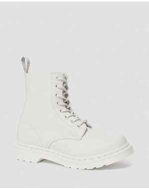 Black Friday Sale Dr. Martens 1460 PASCAL WOMEN'S MONO LACE UP BOOTS - OPTICAL WHITE VIRGINIA