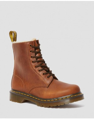 Black Friday Sale Dr. Martens 1460 WOMEN'S FAUX FUR LINED LACE UP BOOTS - BUTTERSCOTCH ORLEANS