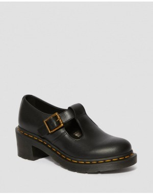 Dr.Martens SOPHIA WOMEN'S LEATHER HEELED MARY JANE SHOES - BLACK WANAMA - Sale