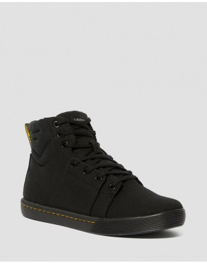 Black Friday Sale Dr. Martens ROZARYA WOMEN'S CANVAS CASUAL BOOTS - BLACK+BLACK CANVAS+FINE CANVAS