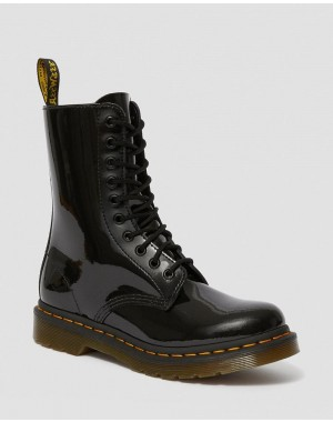 Black Friday Sale Dr. Martens 1490 WOMEN'S PATENT LEATHER MID CALF BOOTS - BLACK PATENT LAMPER