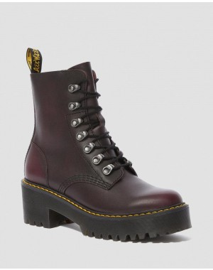 Black Friday Sale Dr. Martens LEONA WOMEN'S VINTAGE LEATHER HEELED BOOTS - BURGUNDY VINTAGE