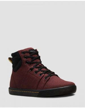 Black Friday Sale Dr. Martens ROZARYA WOMEN'S CANVAS CASUAL BOOTS - OLD OXBLOOD+BLACK CANVAS+FINE CANVAS
