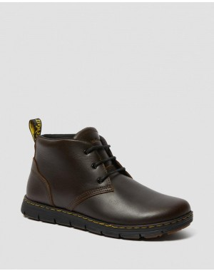 Dr.Martens RHODES MEN'S LEATHER CHUKKA BOOTS - BROWN BERKLEY - Sale