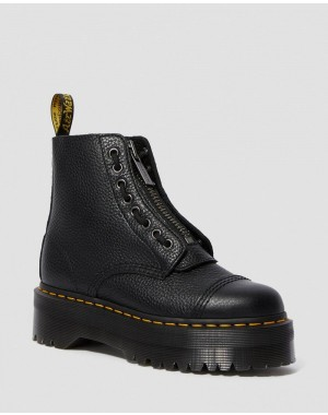 Dr.Martens SINCLAIR WOMEN'S LEATHER PLATFORM BOOTS - BLACK - Sale