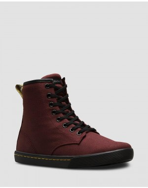Black Friday Sale Dr. Martens SHERIDAN WOMEN'S CANVAS CASUAL BOOTS - OLD OXBLOOD CANVAS