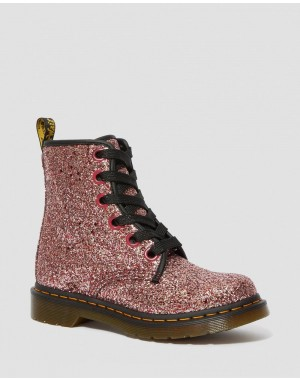 Black Friday Sale Dr. Martens 1460 WOMEN'S CHUNKY GLITTER LACE UP BOOTS - PALE PINK CHUNKY GLITTER