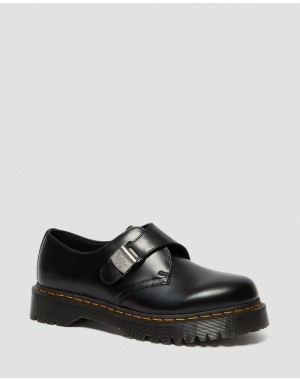 Black Friday Sale Dr. Martens 1461 FENIMORE BEX BUCKLE SHOES - BLACK POLISHED SMOOTH