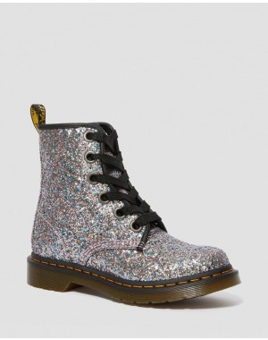 Black Friday Sale Dr. Martens 1460 WOMEN'S CHUNKY GLITTER LACE UP BOOTS - MULTI BLUE CHUNKY GLITTER