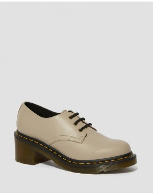 Dr.Martens AMORY WOMEN'S LEATHER HEELED SHOES - NATURAL WANAMA - Sale