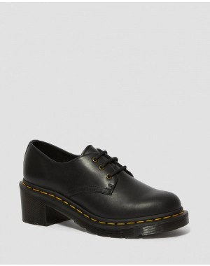 AMORY WOMEN'S LEATHER HEELED SHOES - BLACK WANAMA