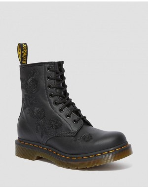 Black Friday Sale Dr. Martens 1460 VONDA MONO WOMEN'S FLORAL BOOTS - BLACK SOFTY T