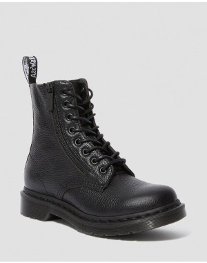 Dr.Martens 1460 PASCAL WOMEN'S LEATHER ZIPPER LACE UP BOOTS - BLACK AUNT SALLY - Sale