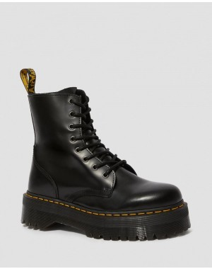 Black Friday Sale Dr. Martens JADON SMOOTH LEATHER PLATFORM BOOTS - BLACK POLISHED SMOOTH