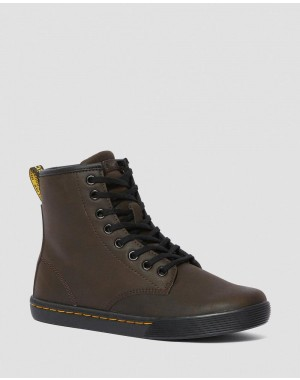 Black Friday Sale Dr. Martens SHERIDAN WOMEN'S MATTE CASUAL BOOTS - DARK BROWN MOHAWK NON WOVEN SYNTHETIC