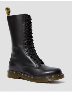 Dr.Martens 1914 SMOOTH LEATHER TALL BOOTS - BLACK SMOOTH - Sale