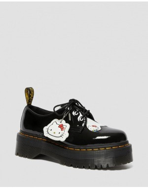 Dr.Martens 1461 WOMEN'S HELLO KITTY PLATFORM SHOES - BLACK-WHITE PATENT LAMPER-HYDRO LEATHER - Sale
