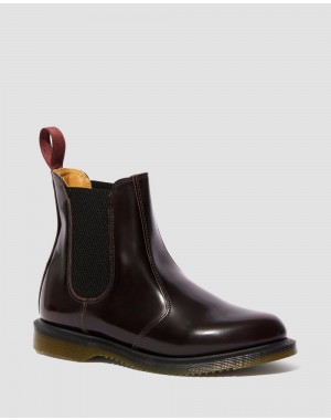 Black Friday Sale Dr. Martens FLORA WOMEN'S ARCADIA LEATHER CHELSEA BOOTS - CHERRY RED ARCADIA