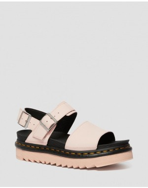 Dr.Martens VOSS WOMEN'S LIGHT LEATHER STRAP SANDALS - PINK SALT HYDRO LEATHER - Sale