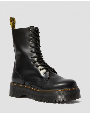 Black Friday Sale Dr. Martens JADON HI SMOOTH LEATHER PLATFORM BOOTS - BLACK POLISHED SMOOTH