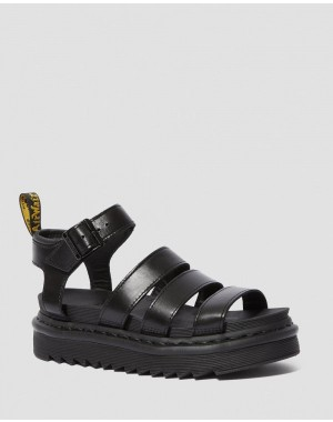Dr.Martens BLAIRE WOMEN'S BRANDO LEATHER GLADIATOR SANDALS - BLACK BRANDO - Sale