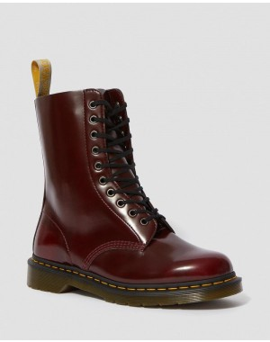 Dr.Martens VEGAN 1490 MID CALF BOOTS - CHERRY RED OXFORD RUB OFF - Sale