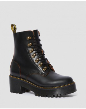Black Friday Sale Dr. Martens LEONA WOMEN'S VINTAGE SMOOTH LEATHER HEELED BOOTS - BLACK VINTAGE SMOOTH