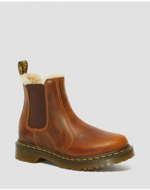 Black Friday Sale Dr. Martens 2976 WOMEN'S FAUX FUR LINED CHELSEA BOOTS - BUTTERSCOTCH ORLEANS