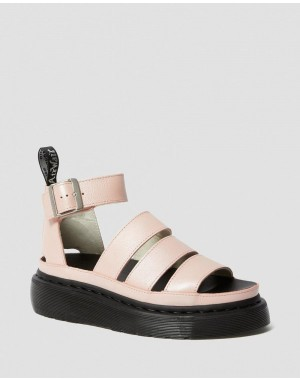 Black Friday Sale Dr. Martens CLARISSA II METALLIC LEATHER PLATFORM SANDALS - PINK SALT METALLIC PISA