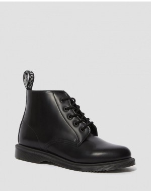 Black Friday Sale Dr. Martens EMMELINE SMOOTH LEATHER LACE UP ANKLE BOOTS - BLACK POLISHED SMOOTH