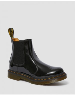 Black Friday Sale Dr. Martens 2976 WOMEN'S PATENT LEATHER CHELSEA BOOTS - BLACK PATENT LAMPER