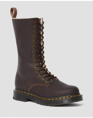 1914 WOMEN'S DM'S WINTERGRIP TALL BOOTS - DARK BROWN SNOWPLOW