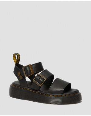 Black Friday Sale Dr. Martens GRYPHON WOMEN'S PLATFORM GLADIATOR SANDALS - BLACK PISA