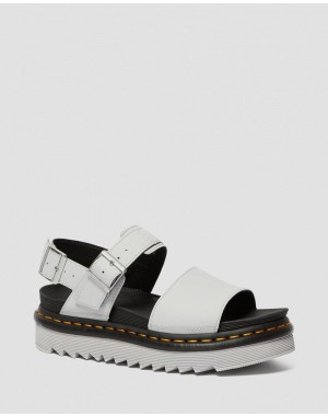 Black Friday Sale Dr. Martens VOSS WOMEN'S LIGHT LEATHER STRAP SANDALS - LIGHT GREY HYDRO LEATHER