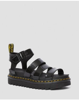 Black Friday Sale Dr. Martens BLAIRE WOMEN'S PATENT LEATHER GLADIATOR SANDALS - BLACK PATENT LAMPER