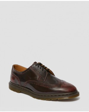 Black Friday Sale Dr. Martens KELVIN II ARCADIA LEATHER BROGUE SHOES - CHERRY RED ARCADIA