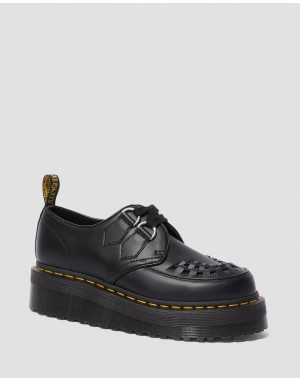 Dr.Martens SIDNEY LEATHER CREEPER PLATFORM SHOES - BLACK POLISHED SMOOTH - Sale