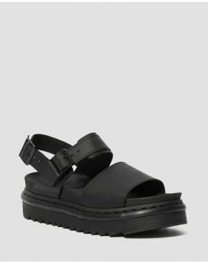 Dr.Martens VOSS WOMEN'S LEATHER STRAP SANDALS - BLACK HYDRO LEATHER - Sale