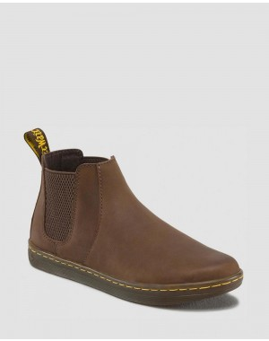 Dr.Martens KATYA WOMEN'S LEATHER CASUAL CHELSEA BOOTS - DARK BROWN WYOMING - Sale