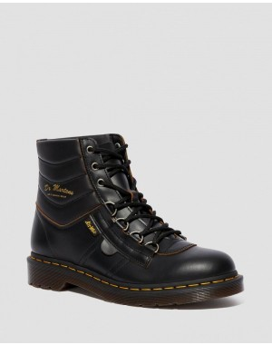 Dr.Martens KAMIN VINTAGE SMOOTH LEATHER HIKER BOOTS - BLACK VINTAGE SMOOTH - Sale