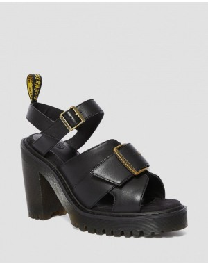 Black Friday Sale Dr. Martens GRANIK WOMEN'S LEATHER HEELED SANDALS - BLACK SENDAL