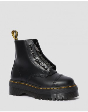 Dr.Martens SINCLAIR SMOOTH  WOMEN'S LEATHER PLATFORM BOOTS - BLACK POLISHED SMOOTH - Sale