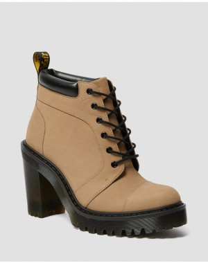 Black Friday Sale Dr. Martens AVERIL WOMEN'S SUEDE HEELED ANKLE BOOTS - MILKSHAKE KAYA