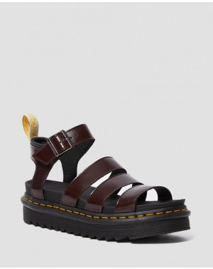 Dr.Martens VEGAN BLAIRE WOMEN'S GLADIATOR SANDALS - CHERRY RED OXFORD RUB OFF - Sale