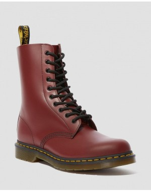 Dr.Martens 1490 SMOOTH LEATHER MID CALF BOOTS - CHERRY RED SMOOTH - Sale