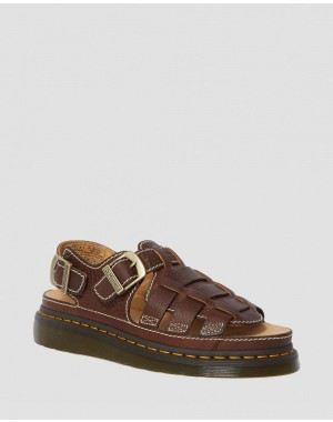 Dr.Martens 8092 LEATHER FISHERMAN SANDALS - DARK BROWN GRIZZLY - Sale